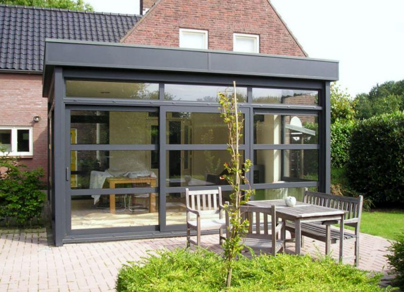 Veranda met plat dak h van den bergh essen - Veranda modern huis ...